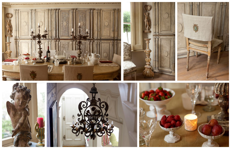 Montage of dinning room detail